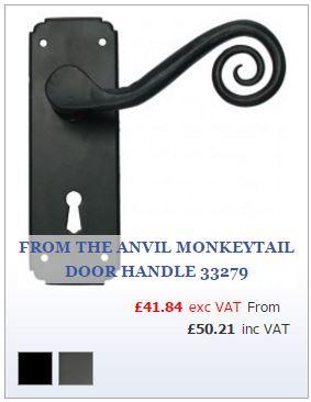 Powder coat black spiral lever door handle on backplate
