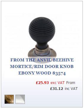 Ebony wood Beehive Door Knob on Antique Brass Rose