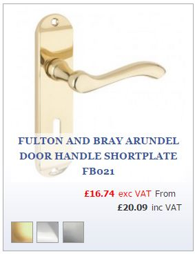 Polished brass curved lever handle on locking backplate