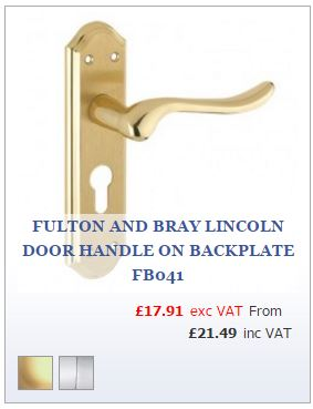 Polished brass curved lever on shaped Euro lock backplate