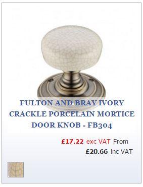 Ivory crackle porcelain door knob on Florentine bronze rose