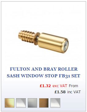 Polished Brass Roller Sash Window Stop