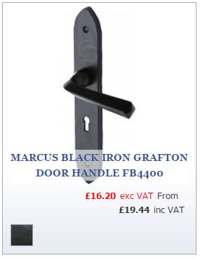 Smooth Black Iron Door Handle on Tudor style Backplate