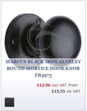 Smooth Black Iron Round Mortice Door Knob