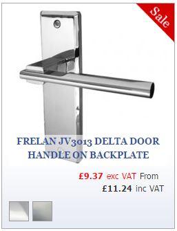 Frelan JV3013 Delta Door Handle on Backplate