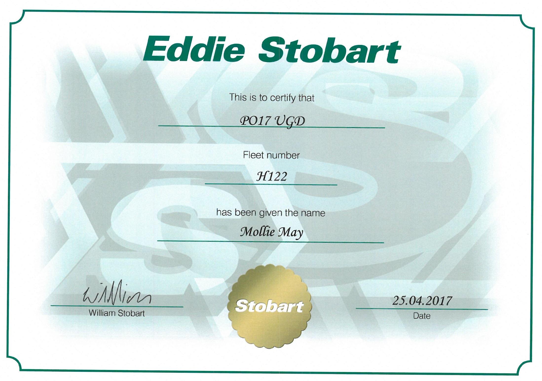 eddie stobart naming certificate