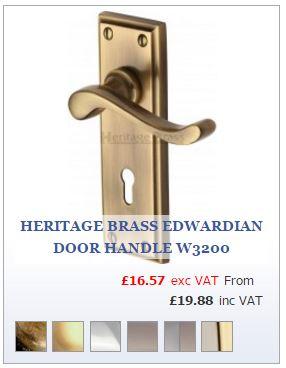 Antique Brass Edwardian Door Handle on Backplate