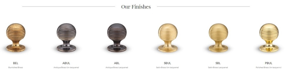 Armac Martin Cupboard Knobs in Satin, Burnished and Antique Brass Finishes