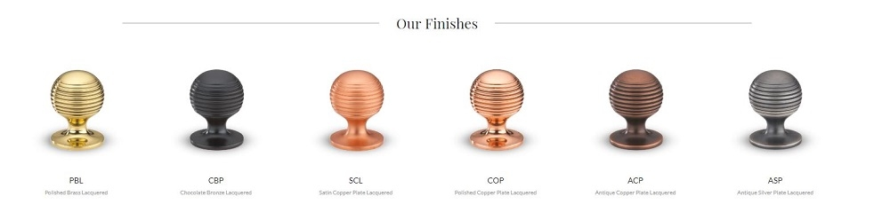 Armac Martin Cupboard Knobs in Brass, Bronze, Copper and Silver Finishes