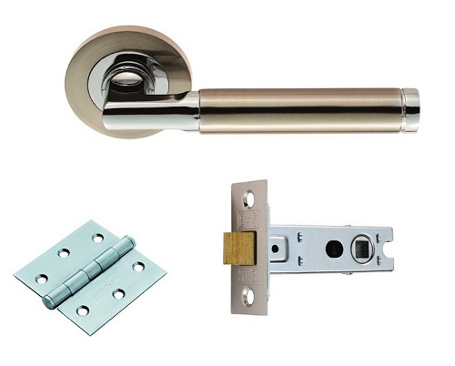 Nickel and Chrome Door Handle Pack with Latch and Hinge