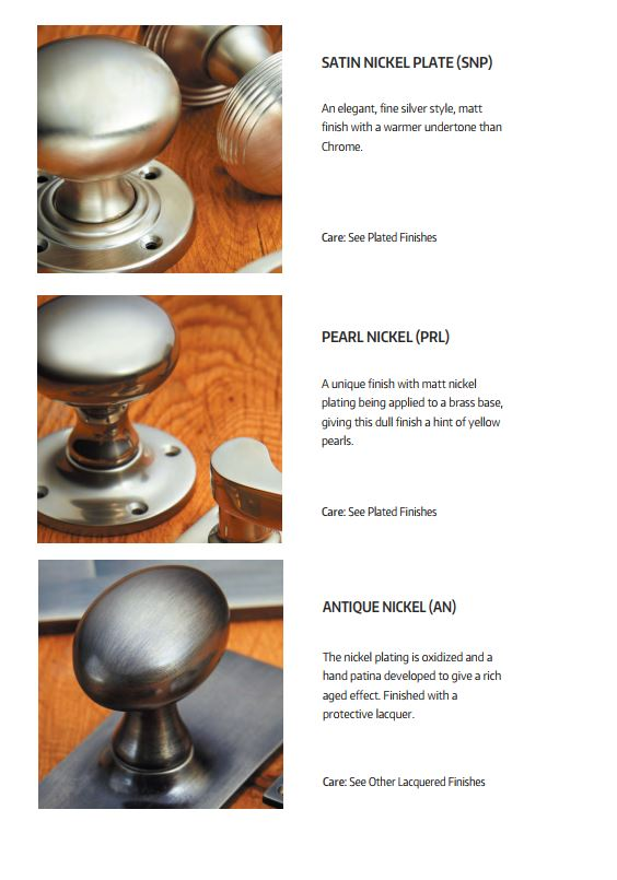 Croft Hardware Satin, Pearl and Antique Nickel Finishes