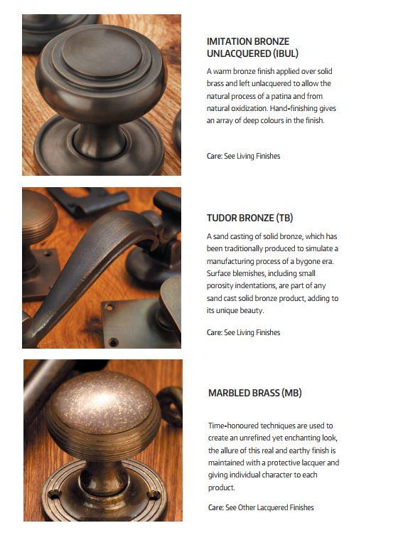 Croft Hardware Imitation and Tudor Bronze and Marbled Brass Finishes