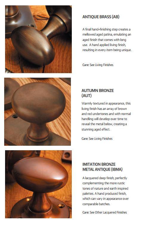 Croft Hardware Antique Brass and Autumn Bronze Finishes