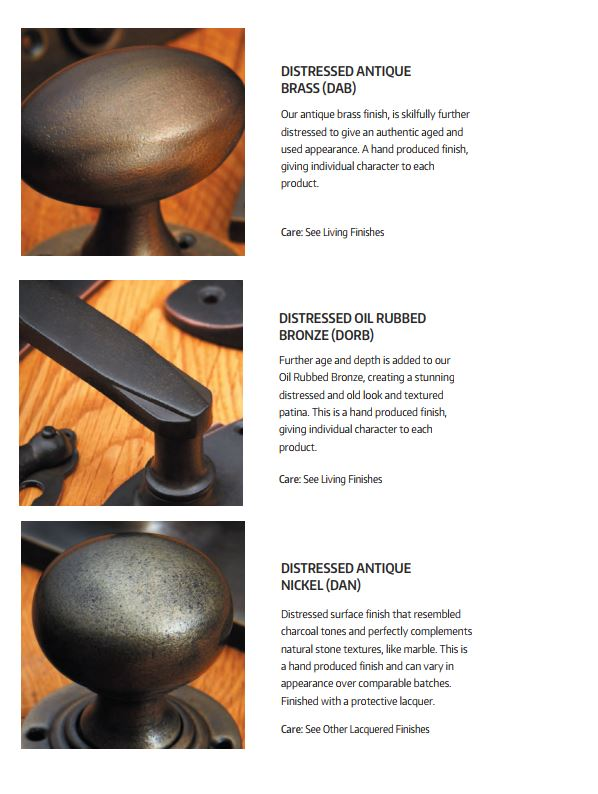 Croft Hardware Distressed Antique, Distressed Bronze and Antique Nickel Finishes