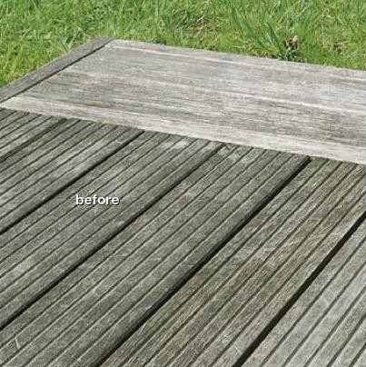 Greyed wood decking before Osmo reviver